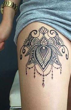 Tribal Boho Mandala Thigh Tattoo Ideas for Women with Meaning - idées de tatouage de cuisse pour les femmes - Oberschenkel Tattoo Ideen für Frauen www.MyBodiArt.com