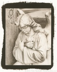 Graveyard Angel with Rose Metarie Cemetery New Orleans Palladium Toned Kallitype