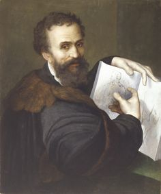 Portrait of Michelango indicating his designs, Sebastiano del Piombo (attributed), ca 1520. Galerie Hans, Hamburg