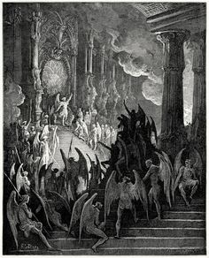 High on a throne of royal state, which far Outshone the wealth of Ormuz and of Ind.Gustave Doré, from Milton's Paradise Lost, New York, 186?.