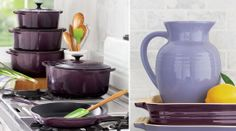 """Cassis"""" (the darker, greyish purple) are two new colors from Le Creuset, currently only available at Sur La Table."""