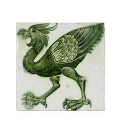 William De Morgan 'Fantastic Bird' a green-glazed tile, circa 1890 Victorian Tiles, Heaven And Hell, Mythological Creatures, Occult, Mythology, Beast, Pottery, Fine Art, Bird