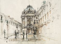 Elizabeth Ockwell, East Door of the Palais Garnier, 2006. Pencil, pen and ink and watercolor on laid paper, 19 x 26 inches.