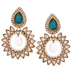 Maayra Fantastic Green White Kundan Drop #Earrings #onlineshopping http://goo.gl/5GxGWz