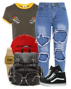 """""""6 20 17"""" by miizz-starburst ❤ liked on Polyvore featuring The Ragged Priest, Balenciaga, Casio, Forever 21 and Vans"""