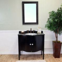 Bellaterra Varese 36.6-in. Black Single Bathroom Vanity with Optional Mirror - BTH092