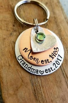 Personalized hand stamped keychain. Pregnancy announcement. New grandma . First mothers day gift. New grandmother. First time grandparent #affiliate