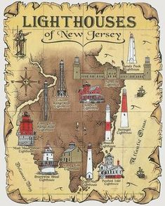 Lighthouses of New Jersey Map T-Shirt