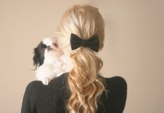 I love hair bows almost more than anything in the world. That puppy is pretty cute too. Cute Girls Hairstyles, Party Hairstyles, Ponytail Hairstyles, Work Hairstyles, Curled Ponytail, Hair Ribbons, Diy Hair Bows, Hot Hair Styles, Hair And Beauty
