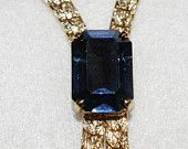 Vintage - Gold Plated flat curb chain - Sapphire paste - Necklace