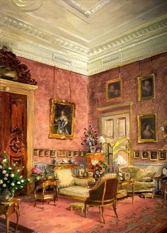 Robert Moore - The Drawing Room at Kingston Lacy Drawing Room, Painting & Drawing, Interior Rendering, Interior And Exterior, Kingston Lacy, Illustrations, Illustration Art, Ocean Wave, Images Vintage