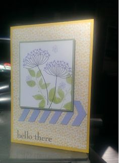 handmade card from the The Crafty Crafter ... design from Friday Mashup Challenge #119 ...like the soft yellow, lavender, green and white colors ... Summer Silhouette flowers as focal image ... row of die cut chevrons run across but underneath the main image panel ... looks like an arrow pointing inside the card ...   sweet card!! ...  Stampin' Up!