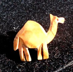 Vintage Carved Wooden Camel Brooch/Pin by LadybugFuzzyRug on Etsy