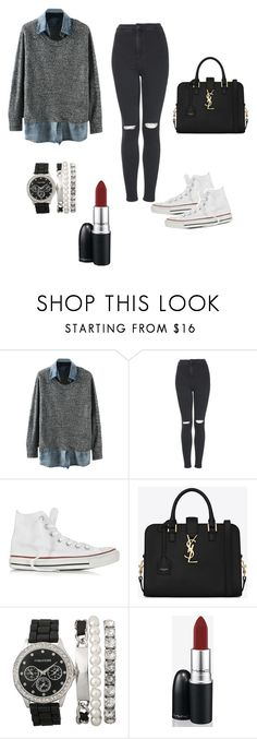 """Sweater over button-up shirt"" by levi-heichou ❤ liked on Polyvore featuring Topshop, Converse, Yves Saint Laurent and MAC Cosmetics"