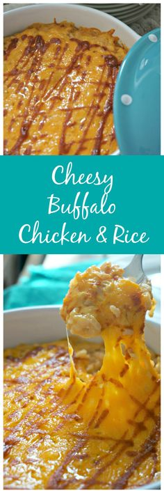 Cheesy Buffalo Chicken and Rice: Creamy, cheesy, and oozing with spicy flavor and a hint of ranch, this chicken and rice dish is nothing short of spectacular. Not to mention it contains NO cream of anything!