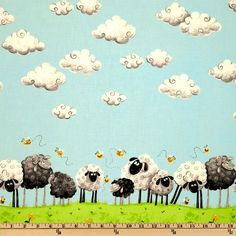 Lewe the Ewe Fabric SB Black White Grazing Sheep Lambs Bees Clouds Border Print. $10.00, via Etsy.