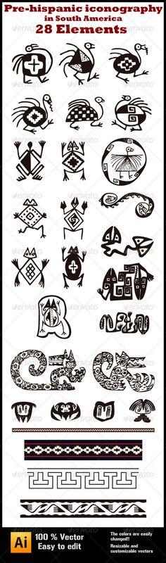 28 , Pre-hispanic Iconography in South-America - Miscellaneous Vectors Ancient Symbols, Ancient Art, Mundo Hippie, South America Map, America Continent, Native American Symbols, Art Premier, Diy Papier, Paperclay