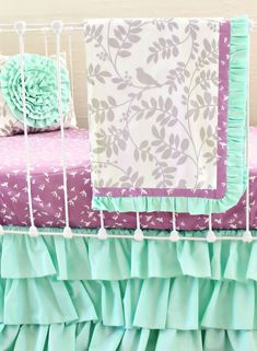 Bumperless Mint and Purple Bird Baby Bedding Set - Blanket Version - Lottie Da Baby Baby Girl Bedding Sets, Purple Bedding Sets, Cute Bedding, Nursery Bedding, Fantasy Bedroom, Boy Girl Room, Purple Bird, Walmart, Luxury Bedding