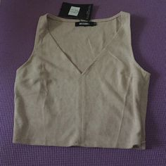 Misguided Faux Suede Crop Top Faux suede taupe crop top. New with tags. UK size 10/ US size 6. Missguided Tops Crop Tops