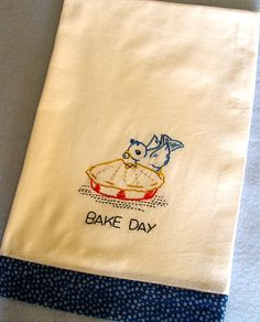BLUEBERRY PIE - hand embroidered flour sack tea towel | Flickr - Photo Sharing!