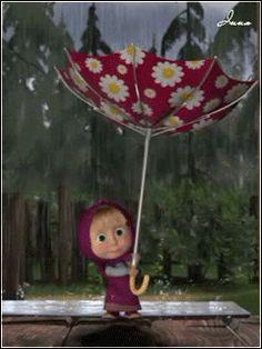 Маша - анимация на телефон от equality №1018311 Cute Cartoon Pictures, Gif Pictures, Cute Images, Funny Images, Cute Pictures, Cozy Rainy Day, Rainy Days, Marsha And The Bear, Rain Gif