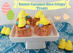 A yummy twist on a classic dessert, Easter Caramel Rice Crispy Treats!