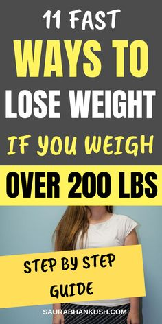 11 Simple Ways How to Lose Weight if You Weigh Over 200 lbs. So Learn How to lose weight if over 200 pounds or Lose weight if your over 200 pounds. Our tips on Weight Loss if over 200 pounds works naturally! So read whole article to lose weight if over Lose 10 Pounds In A Week, Lose Weight In A Week, Losing 10 Pounds, Reduce Weight, How To Lose Weight Fast, 200 Pounds, Lose Thigh Fat Fast, Lose Belly Fat, Lose Fat Workout