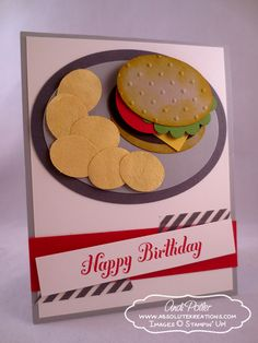 Punch Art Burger And Chips Bday - great tween card!