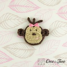 Monkey Applique Crochet by One and Two Company