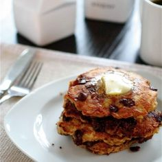 Chocolate Chip Oatmeal Cookie Pancakes. #breakfast