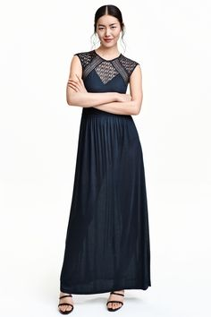 Maxi dress with lace: Jersey maxi dress with inset lace trims, small lace cap sleeves and a concealed zip at the back.