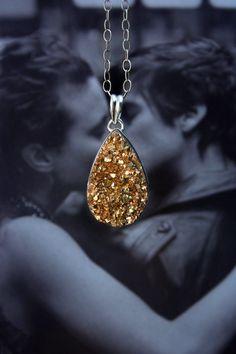 Gold druzy necklace