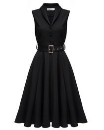 Big Hem Dress With Belt - Black