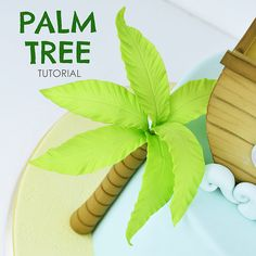 Next use the fine side of the dresden tool to f Palm Tree Cakes, Palm Trees, Cake Topper Tutorial, Cake Toppers, Fondant Tree, Fondant Flowers, Foto Pastel, Safari Cakes, How To Make Icing