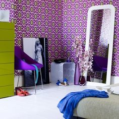 Funky Purple and Green Wallpaper