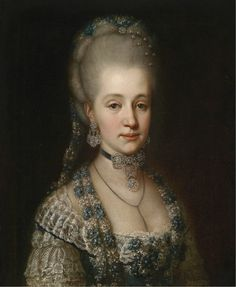 Unknown Artist - Portrait of Maria Christina, Duchess of Teschen with Pearl Pin Hair Jewelry, 1770 Kennedy Jr, Rose Kennedy, Lady Sarah Chatto, Madame Du Barry, Isabella Blow, Thomas Gainsborough, Stella Tennant, Maria Theresia, Court Dresses