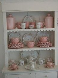 trying to find a set up for my flat wall cupboard with my Desert Rose dishes.  This is pretty.