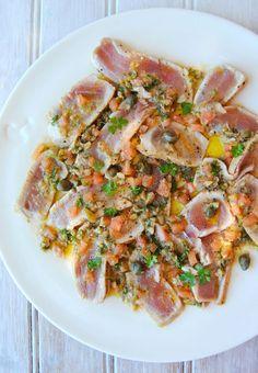 Seared Tuna with a Niçoise-Style Green-Olive, Caper & Tomato Salsa