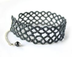 SALE - Tatted Lace bracelet, gray tatting, hand-dyed, sterling silver clasp. $20.00, via Etsy.