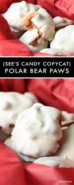 (Sees Candies Copycat) Polar Bear Paws - Candy - Ideas of Candy - These Polar Bear Paws are the perfect sweet and salty treat filled with roasted nuts and caramel then coated in silky white chocolate. Perfect for the holidays! Cake Candy, Candy Cookies, Shortbread Cookies, Polar Bear Paw, Bear Paws, Polar Bears, Holiday Baking, Christmas Baking, Christmas Candy