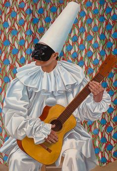 [Artwork of the week] – Pierrot with Guitar by Gino Severini Gino Severini (1883 – 1966) painted and drew numerous Pierrots, Pulcinellas and Harlequins in the mid 1920s. This masked figure painted in 1923 has been identified as Pierrot or Pulcinella, both characters from the Italian Commedia dell'arte.. The subject and naturalistic style are typical of his so-called Neo Classical period.