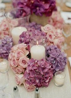 Luscious roses and hydrangea candle centerpieces #purple #weddings