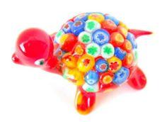 New Hand Blown Glass Red Millefiore Tie Dye Turtle Figurine Reptile