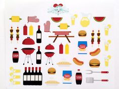BBQ Picnic Stickers by VintageGypsyRoad on Etsy