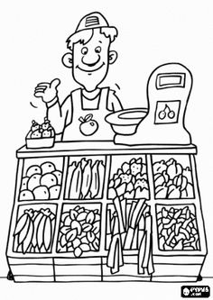 Free grocery shop coloring pages sketch coloring page. Coloring Pages For Kids, Coloring Sheets, Coloring Books, Colouring Pics, Community Workers, Community Helpers, Free Groceries, Art Et Illustration, Shop Plans