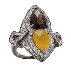 Tracey Bregman Multi Gemstone Sterling Silver Black Rhodium Plate Ring