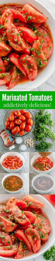 Addictively delicious! Served these marinated tomatoes at a potluck and everyone wanted the recipe! Marinated tomatoes are a great make-ahead side dish.  #marinatedtomatoes #tomatoes #sidedish #freshveggies #veggies