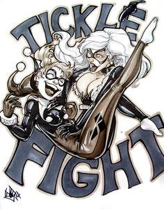 Harley Quinn Black Cat Tickle Fight by ComfortLove on DeviantArt Daddys Little Monster, Little Monsters, Batgirl, Catwoman, Tickle Torture, Tickle Fight, Running Buddies, Black Cat Marvel, Harley Quinn Comic