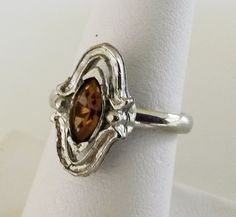 Vtg 1950s Navette Rhinestone Silver Tone Adj Ring 6.75 Renaissance Revival #NotSigned #SolitairewithAccents