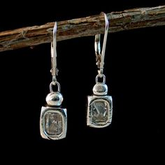 Fine Silver Radiant Block Earring w/ Opposite Set Stones